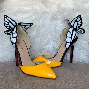 Butterfly Wing Pointed Toe Stiletto Heels